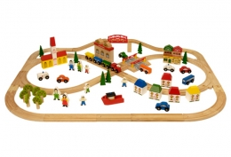 Bigjigs Wooden Railway - Town and Country Train Set