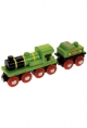 Bigjigs Wooden Railway - Big Green Engine & Coal Tender