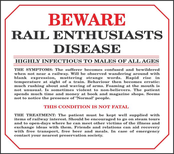 Metal Sign Beware Rail Euthusiasts Disease Replica Metal Signs